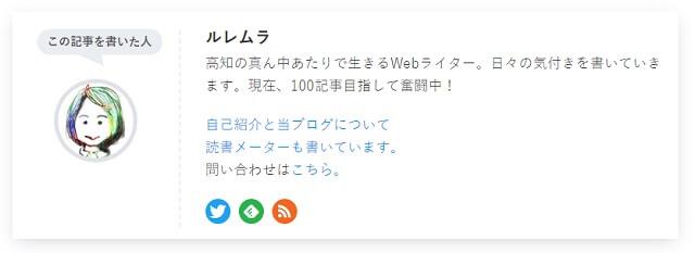 記事下のプロフィール画面